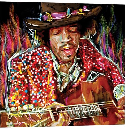 """Jimi Hendrix """"There's A Red House Over Yonder"""" Canvas Art Print"""