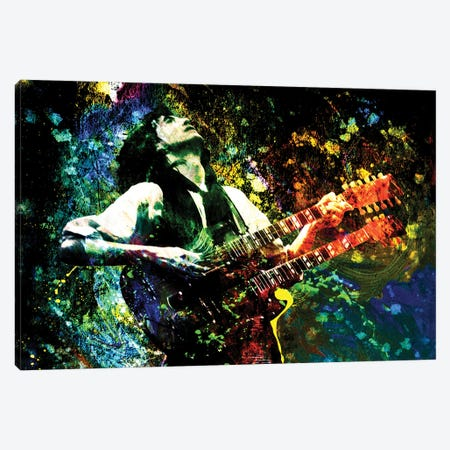 "Jimmy Page - Led Zeppelin ""Song Remains The Same"" Canvas Print #RCM142} by Rockchromatic Canvas Art Print"