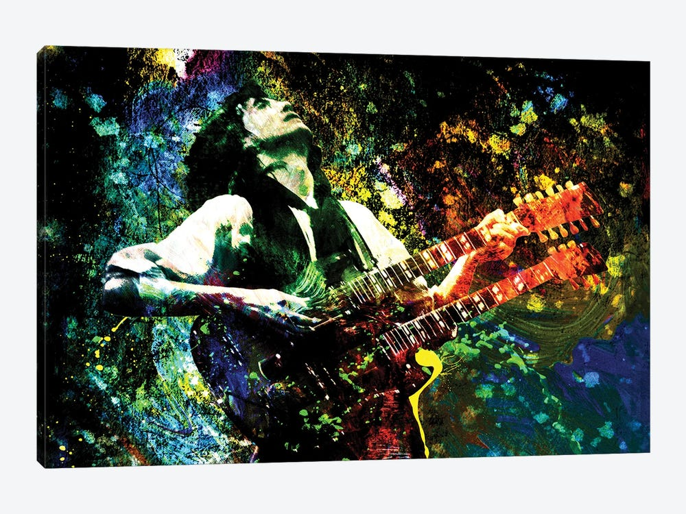 """Jimmy Page - Led Zeppelin """"Song Remains The Same"""" by Rockchromatic 1-piece Canvas Wall Art"""