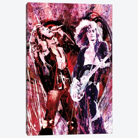 "Led Zeppelin - Jimmy Page And Robert Plant ""Heartbreaker"" Canvas Print #RCM149} by Rockchromatic Canvas Art Print"