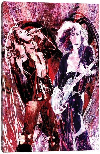 """Led Zeppelin - Jimmy Page And Robert Plant """"Heartbreaker"""" Canvas Art Print"""