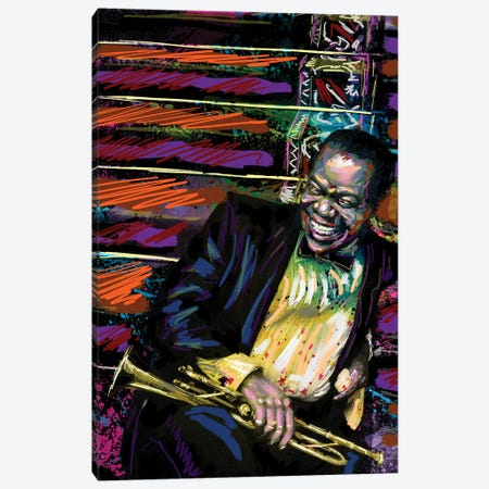 """Louis Armstrong - Jazz """"What A Wonderful World"""" Canvas Print #RCM153} by Rockchromatic Canvas Wall Art"""