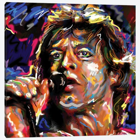 "Mick Jagger - Rolling Stones ""Jumpin' Jack Flash"" Canvas Print #RCM157} by Rockchromatic Canvas Print"