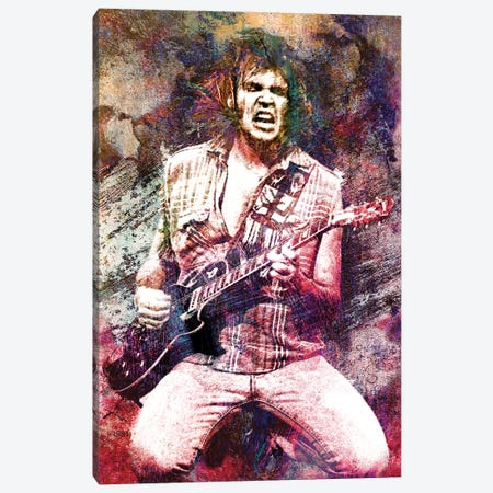 """Neil Young """"Hey Hey My My Rock N Roll Will Never Die"""" Canvas Print #RCM160} by Rockchromatic Canvas Print"""