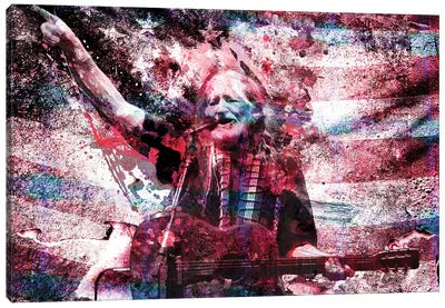 """Willie Nelson """"Whiskey River Take My Mind"""" Canvas Art Print"""