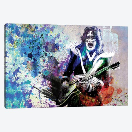 "Ace Frehley - Kiss ""I Wanna Rock N Roll All Night"" Canvas Print #RCM178} by Rockchromatic Canvas Artwork"