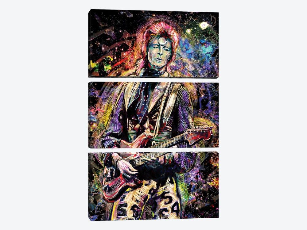 """David Bowie """"Ziggy Played Guitar"""" by Rockchromatic 3-piece Canvas Artwork"""