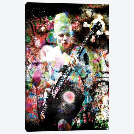 """Flea - Red Hot Chili Peppers """"Suck My Kiss"""" Canvas Print #RCM186} by Rockchromatic Canvas Wall Art"""