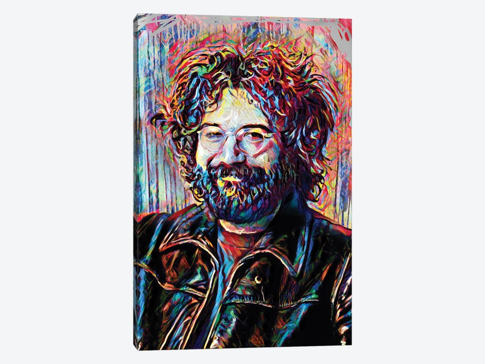 """Jerry Garcia - The Grateful Dead """"Eyes Of The World"""" by Rockchromatic 1-piece Canvas Artwork"""