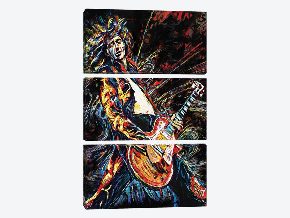 """Jimmy Page - Led Zeppelin """"Stairway To Heaven"""" by Rockchromatic 3-piece Canvas Art Print"""