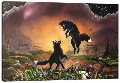 Brother Black Fox Canvas Art Print