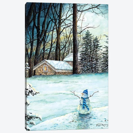 Snowman in Moonlight Canvas Print #RDD12} by James Redding Canvas Art Print