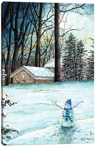 Snowman in Moonlight Canvas Art Print