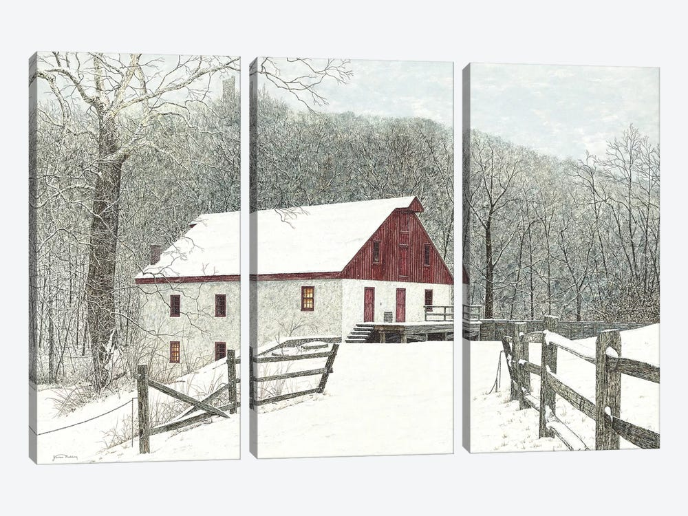 Grist Mill by James Redding 3-piece Canvas Print
