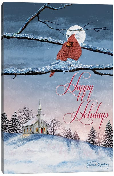 Happy Holiday Cardinal Canvas Art Print