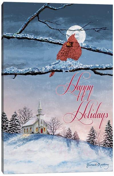 Happy Holiday Cardinal Canvas Art Print