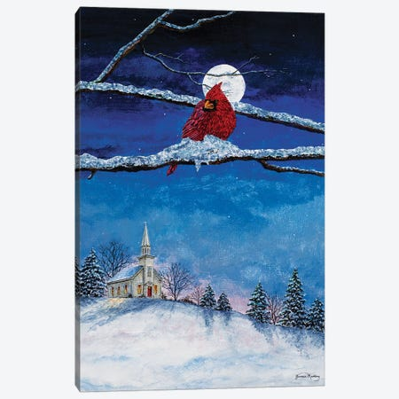 Little White Church On Hill Canvas Print #RDD33} by James Redding Canvas Art Print
