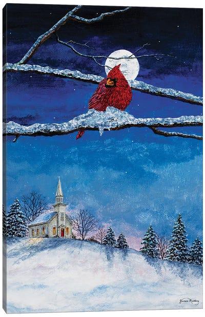 Little White Church On Hill Canvas Art Print