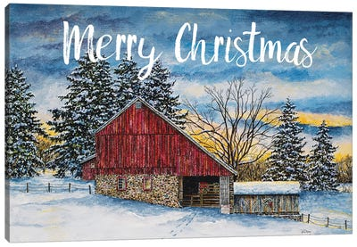 Merry Christmas Barn Canvas Art Print