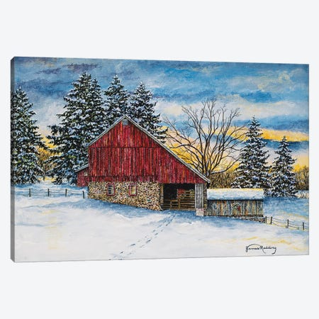 Stovers Mill Barn Canvas Print #RDD41} by James Redding Canvas Artwork