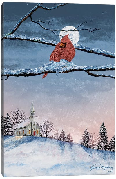 Winter Church Nights Canvas Art Print