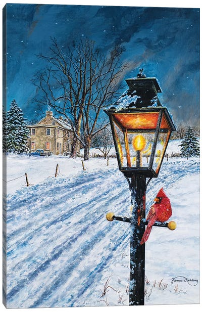 Winterberry Lamppost Canvas Art Print