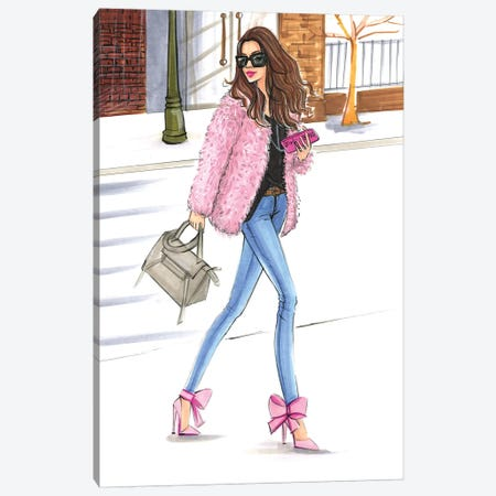 Pink Fashionistas 3-Piece Canvas #RDE101} by Rongrong DeVoe Canvas Wall Art