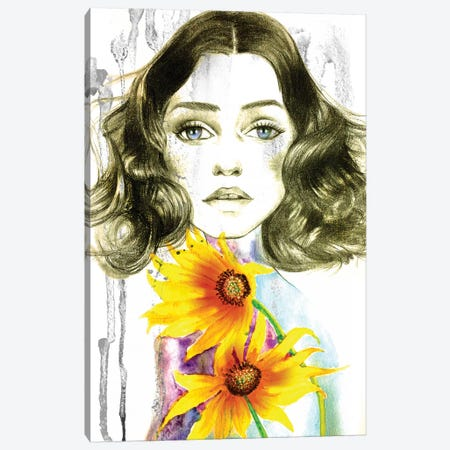 Sunflower Girl Canvas Print #RDE10} by Rongrong DeVoe Canvas Artwork