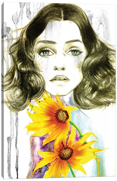 Sunflower Girl Canvas Art Print