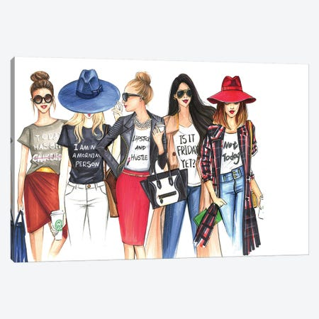 Fashionistas Gotta Have Fun Canvas Print #RDE110} by Rongrong DeVoe Art Print