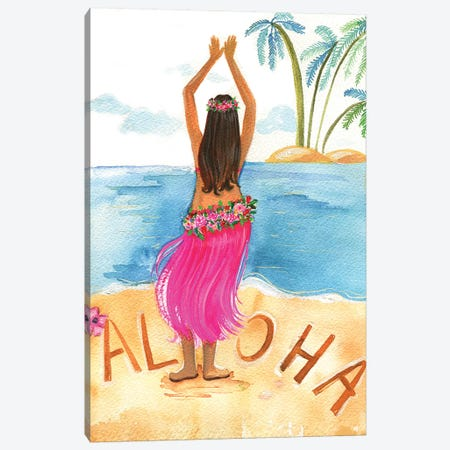 Aloha Girl Canvas Print #RDE120} by Rongrong DeVoe Canvas Artwork