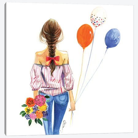 Balloon Girl Canvas Print #RDE122} by Rongrong DeVoe Canvas Art