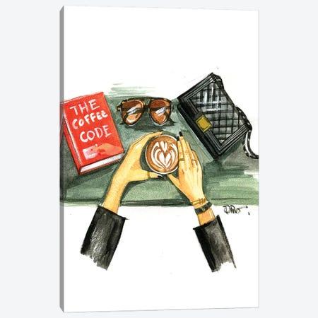 Coffee Code Canvas Print #RDE127} by Rongrong DeVoe Art Print