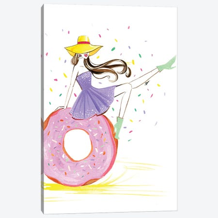 Donut Girl Canvas Print #RDE129} by Rongrong DeVoe Canvas Art