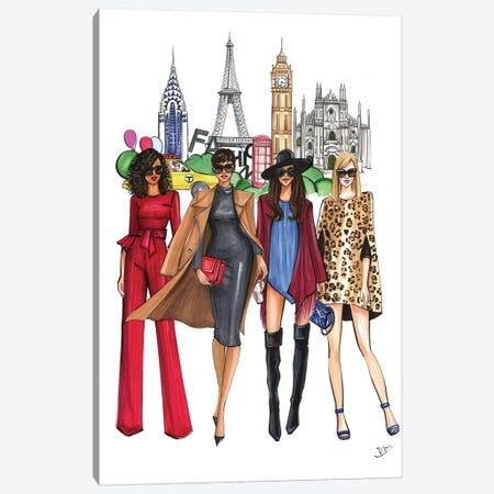 Fashion Week Ladies Canvas Print #RDE130} by Rongrong DeVoe Canvas Print