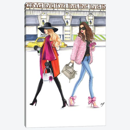 February Pink Fashionistas Canvas Print #RDE131} by Rongrong DeVoe Art Print