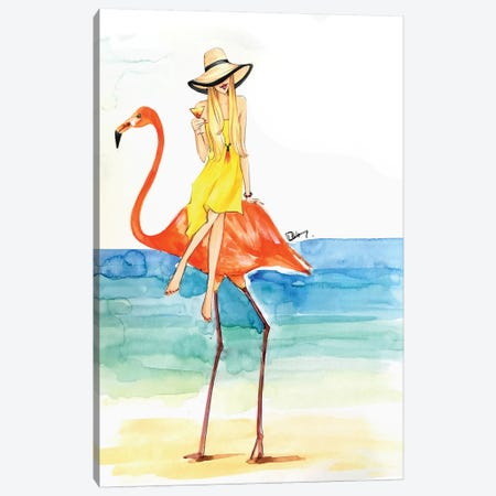 Flamingo Ride Canvas Print #RDE132} by Rongrong DeVoe Canvas Art Print