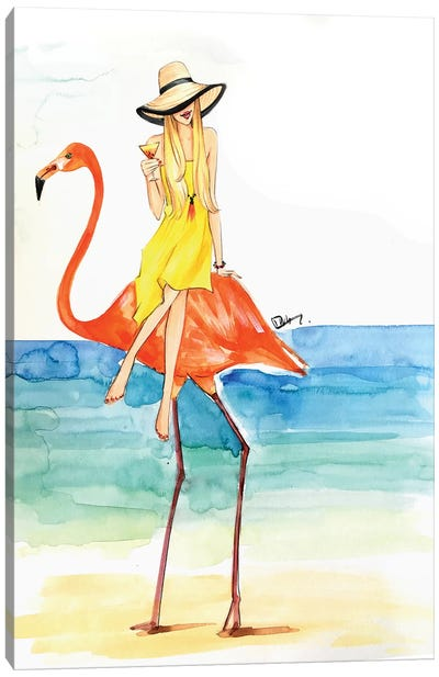 Flamingo Ride Canvas Art Print
