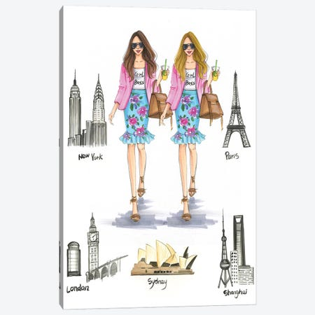 Girl Bosses Around The World Canvas Print #RDE134} by Rongrong DeVoe Canvas Artwork