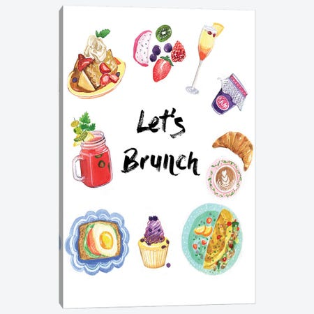 Let's Brunch Canvas Print #RDE139} by Rongrong DeVoe Canvas Print