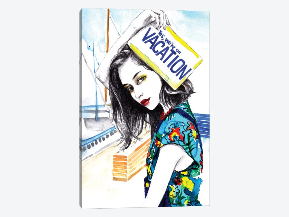 We Are On Vacation by Rongrong DeVoe 1-piece Art Print