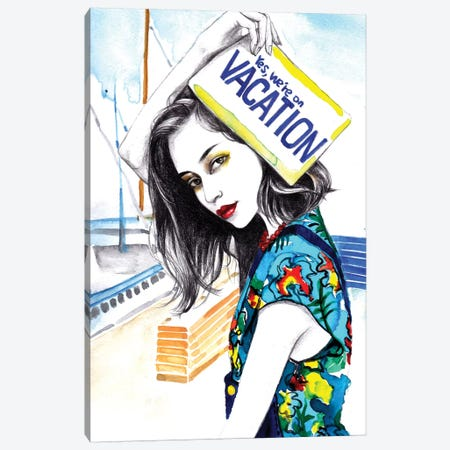 We Are On Vacation Canvas Print #RDE13} by Rongrong DeVoe Canvas Wall Art