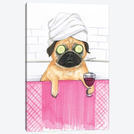 Pug Bath Canvas Print #RDE143} by Rongrong DeVoe Canvas Artwork