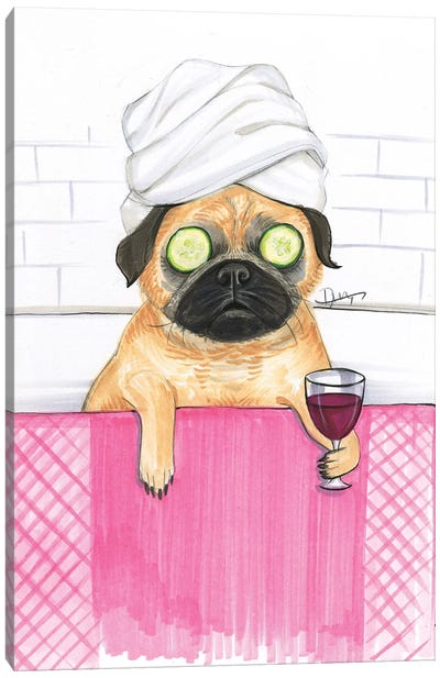 Pug Bath Canvas Art Print