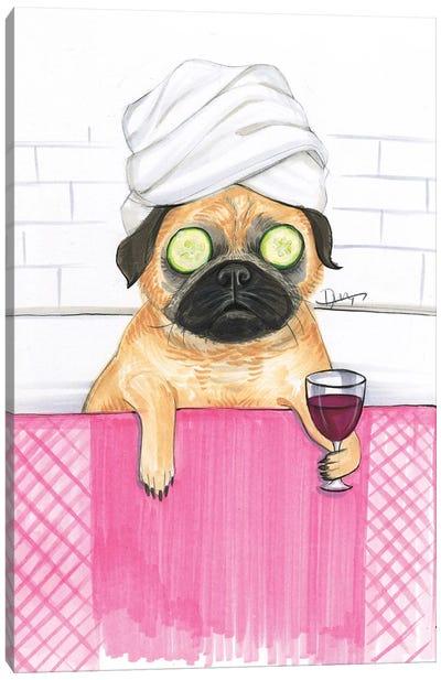 Pug Bath Canvas Art Print