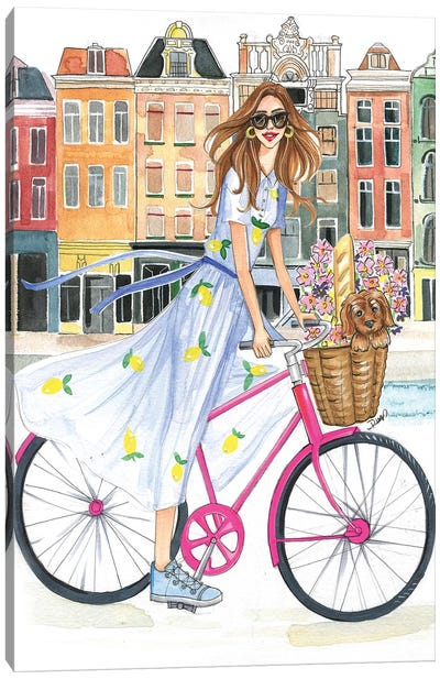 Bike Ride On The Canal Canvas Art Print