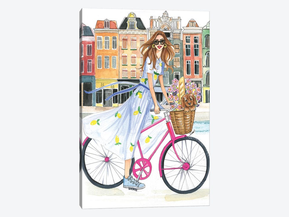 Bike Ride On The Canal by Rongrong DeVoe 1-piece Canvas Art
