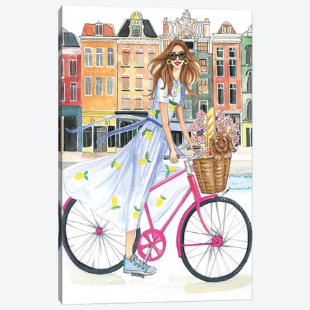 Bike Ride On The Canal Canvas Print #RDE150} by Rongrong DeVoe Canvas Print