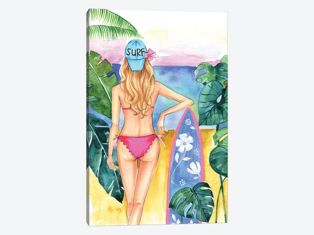 Surf Girl by Rongrong DeVoe 1-piece Canvas Wall Art
