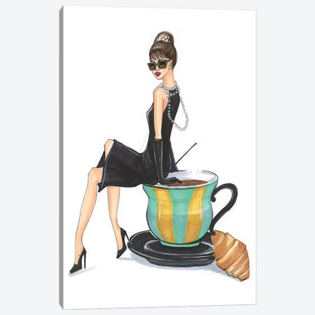Audrey Hepburn And Tiffany Canvas Print #RDE157} by Rongrong DeVoe Canvas Art